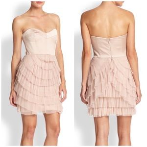 BCBGMAXAZRIA Strapless Mini Tiered Ruffle Dress 10